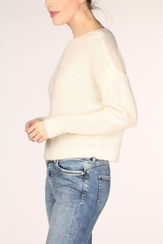 Vila Trui Vigood Boat Neck Knit L/S Top/1 Gebroken Wit
