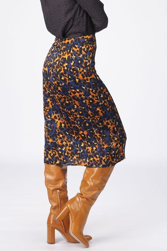 Vila Skirt jolie Lenona/L Royal Blue/Camel Brown