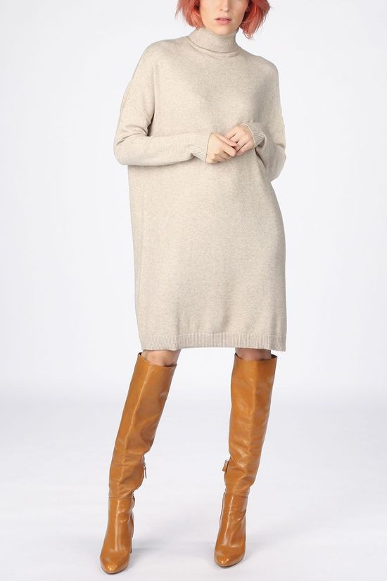 Vila Dress Viril Rollneck Knit Ecru