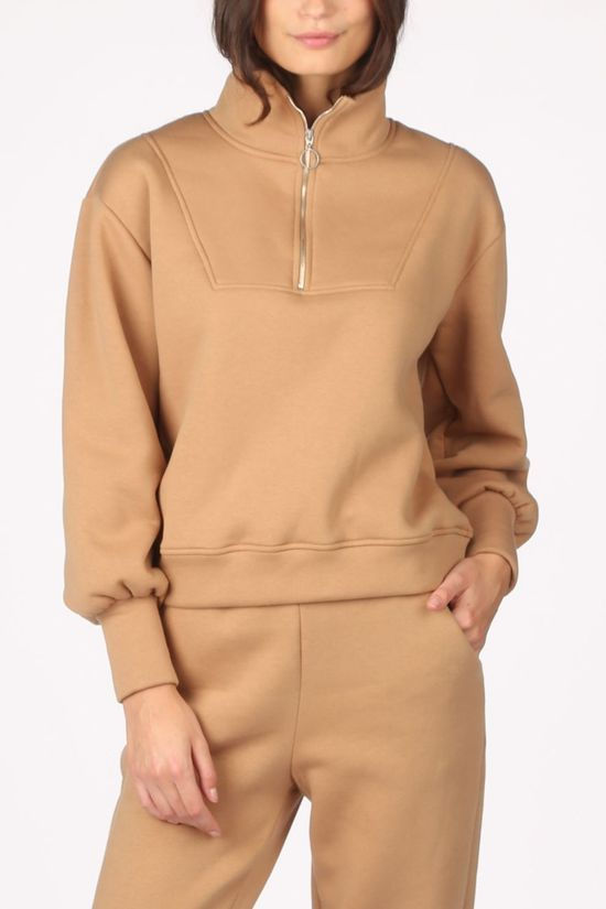Object Pullover  agnes L/S Sweat Camel Brown