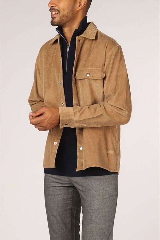 Jack & Jones Shirt Jorrayan Shirt Ls Org camel