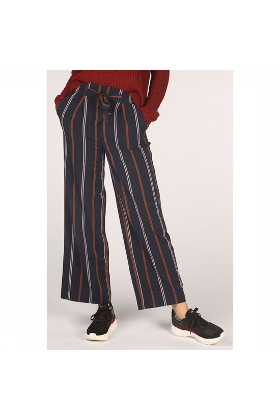 Only Trousers milla Hw Wide Stripes Dark Blue/Sand Brown