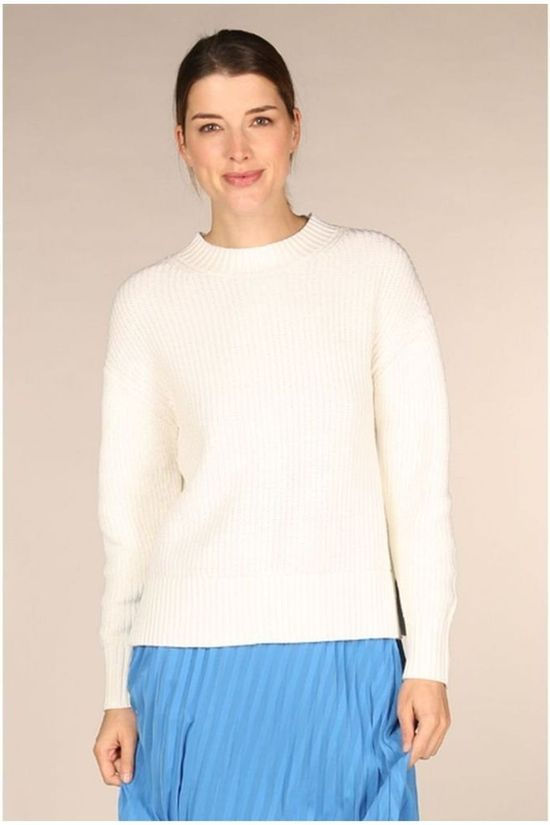 Selected Pull Slfbailey Ls Knit Oneck Blanc Cassé