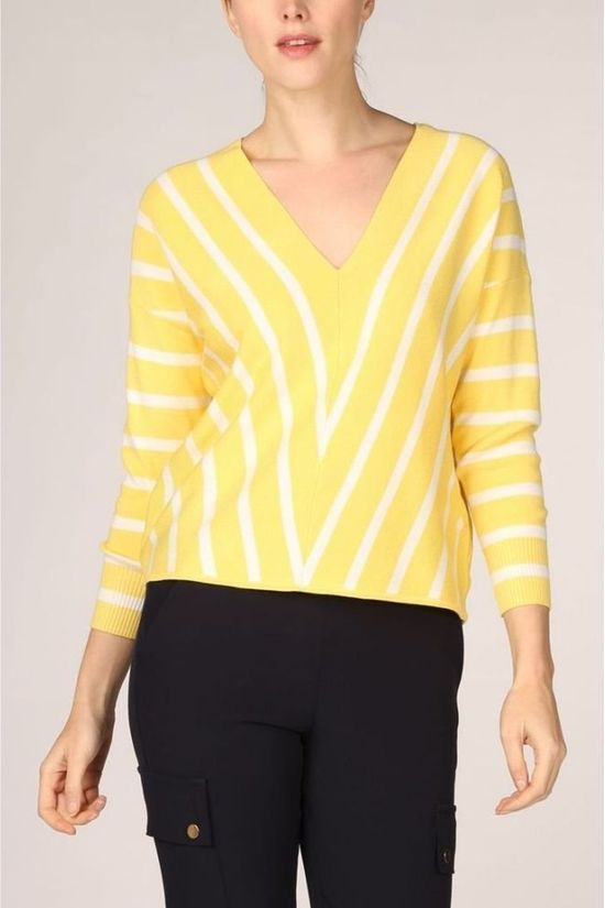 Only Pullover aya 7/8 Vneck mid yellow/white