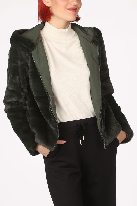 Only Coat Onlchris Fur Hooded dark khaki