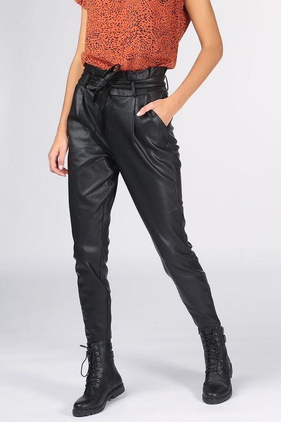 Vero Moda Broek eva Mr Loose Paperbag Coated Noos Zwart