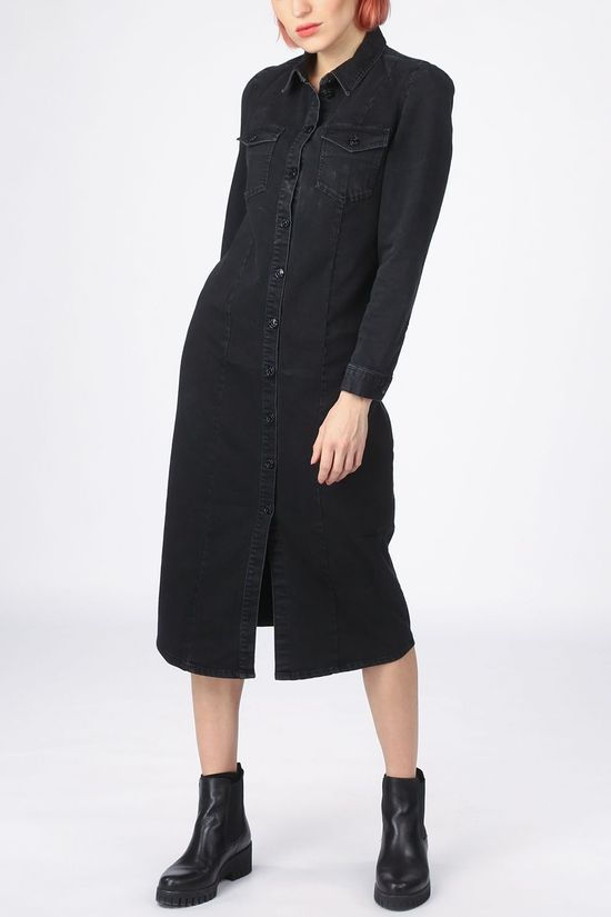 Only Blazer y Mette Black Life Ls Puf Denim Dress Qyt Zwart (Jeans)