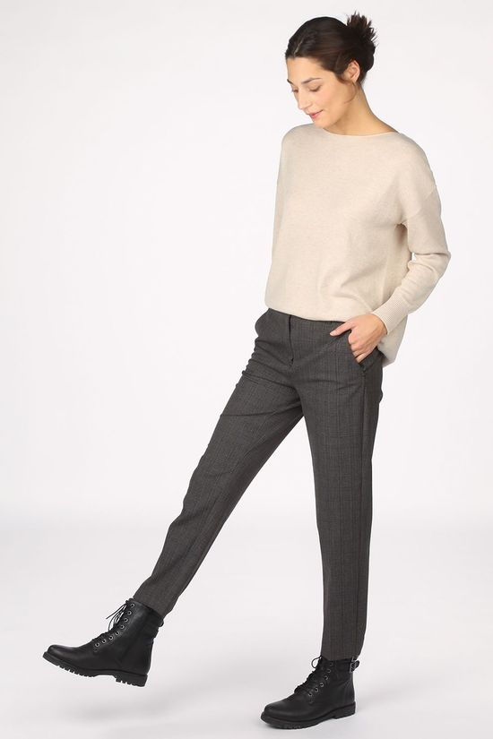 Selected Pantalon Slfria Mw Cropped Mb Check B Bleu Marin