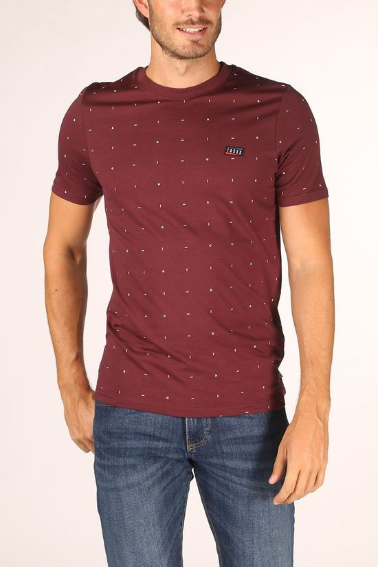 Jack & Jones T-Shirt coapollo Tee Ss Bordeaux / Marron/Ass. Géométrique