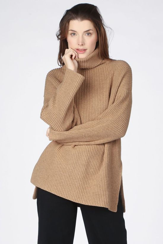 Selected Trui katty Ls Long Rollneck Kameelbruin