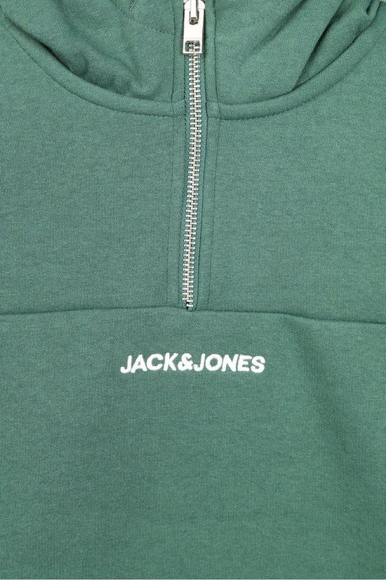 Jack & Jones Trui orratic  Sweat Half Zip Hood Jr Donkergroen