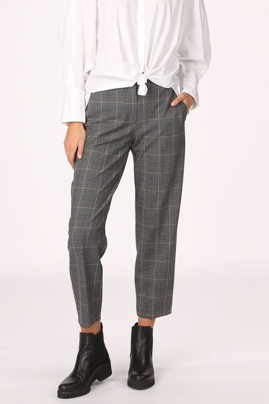 Selected Trousers emilo Mw Cropped Mgm Check B Dark Grey Marle/Black