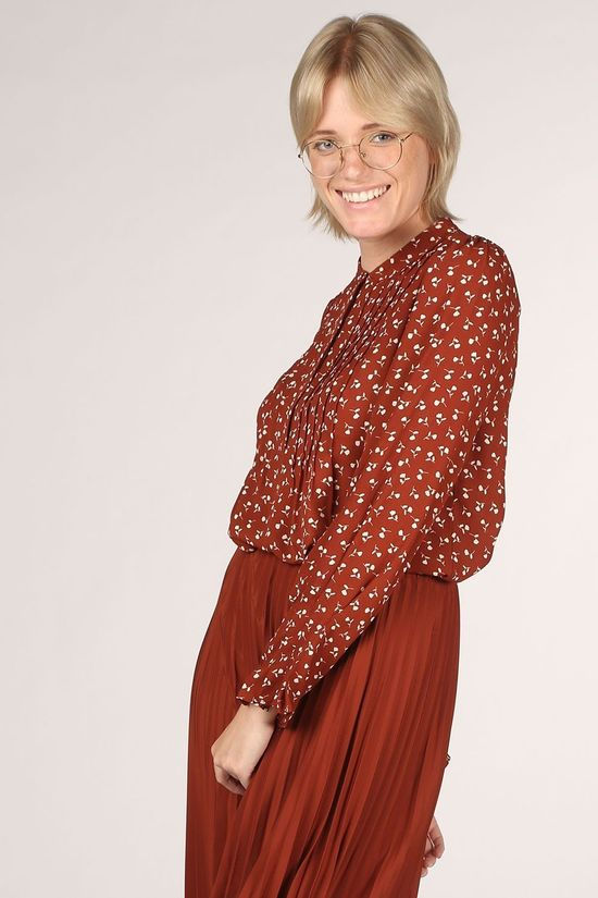 Selected Blouse livia Ls Aop Nos Roest/Wit