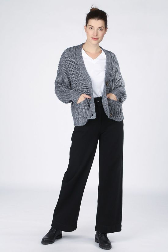 Selected Cardigan emma Ls Knit W Dark Grey Marle