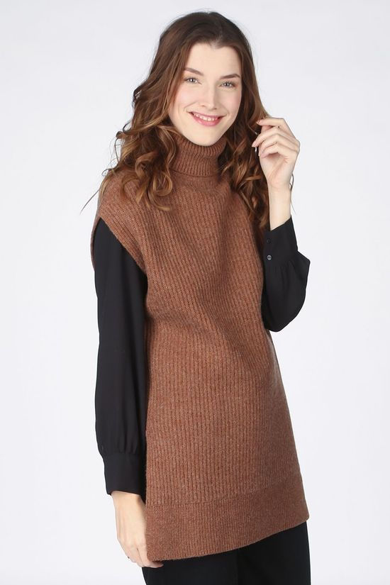 Selected Pullover sanna Tunic Knit Rollneck B brown