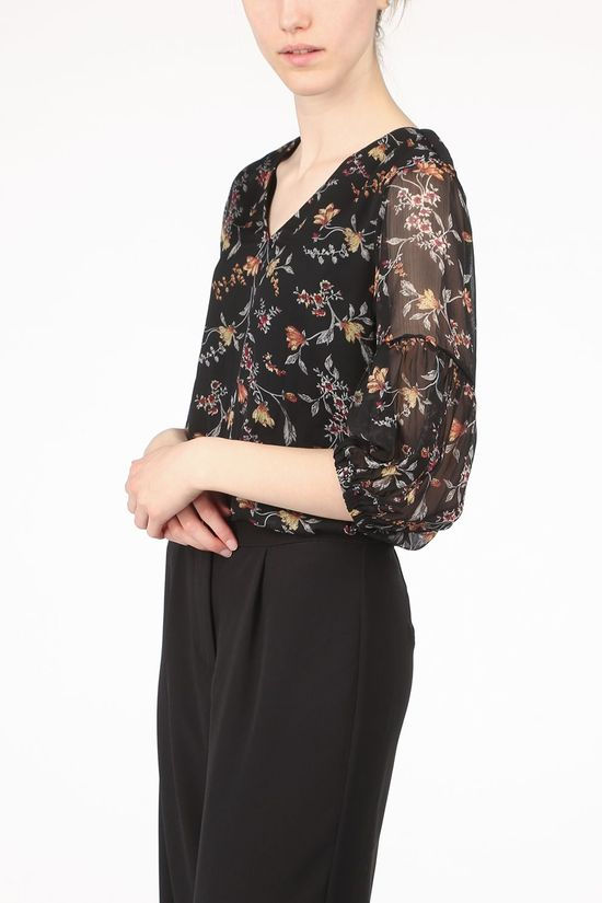 Vero Moda Shirt Vmnikita 3/4 Top Ass. Flower/Black
