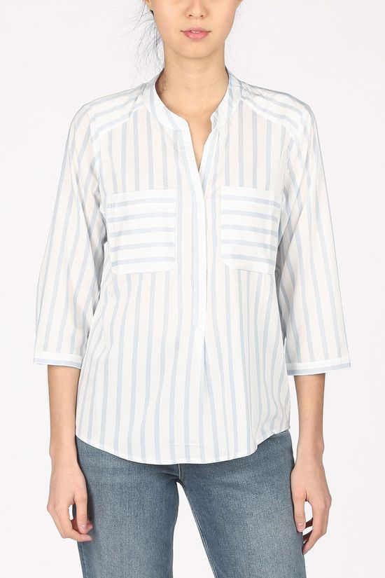 Vero Moda Blouse erika Stripe 3/4 E10 Color Wit/Lichtblauw