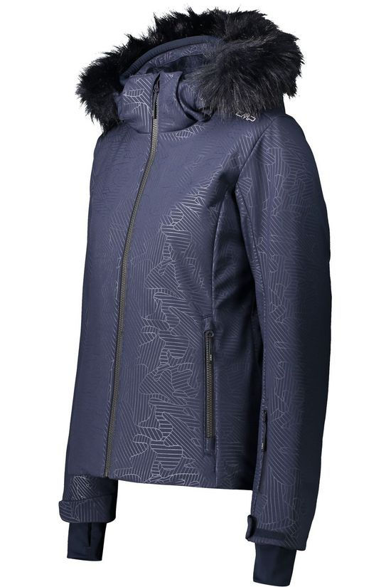 CMP Coat Woman Jacket Zip Hood Fur Dark Blue (Jeans)