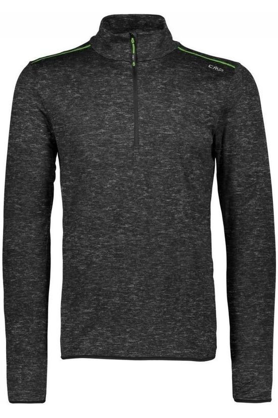 CMP Fleece Man Sweat Printed Carbonium Stretch Donkergrijs/Groen
