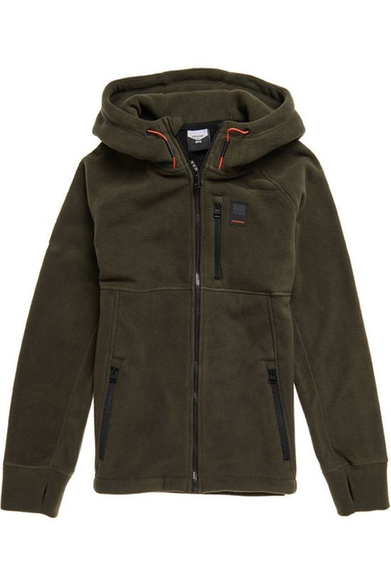 Superdry Fleece Polar Zip Thru dark khaki