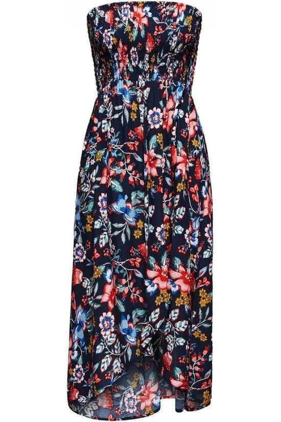 Esprit Dress Jasmine Beach Tube Dress Smock Navy Blue/Ass. Flower