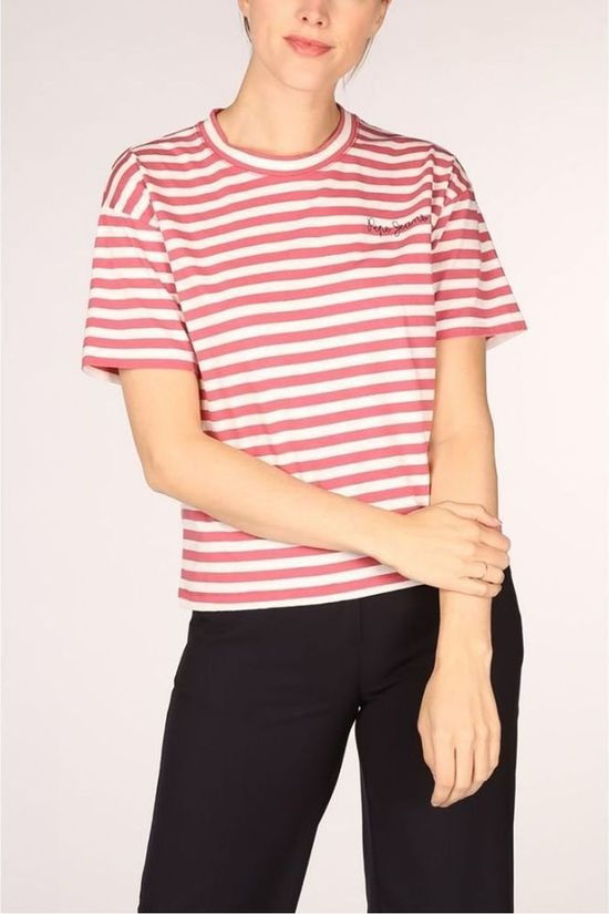 Pepe Jeans T-Shirt Claire Middenrood/Wit