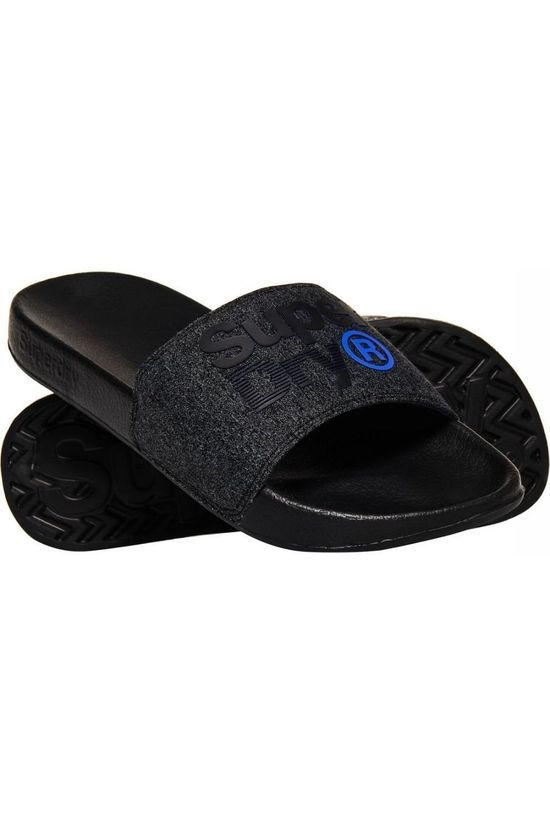 Superdry Tongs Lineman Pool Slide Noir/Bleu