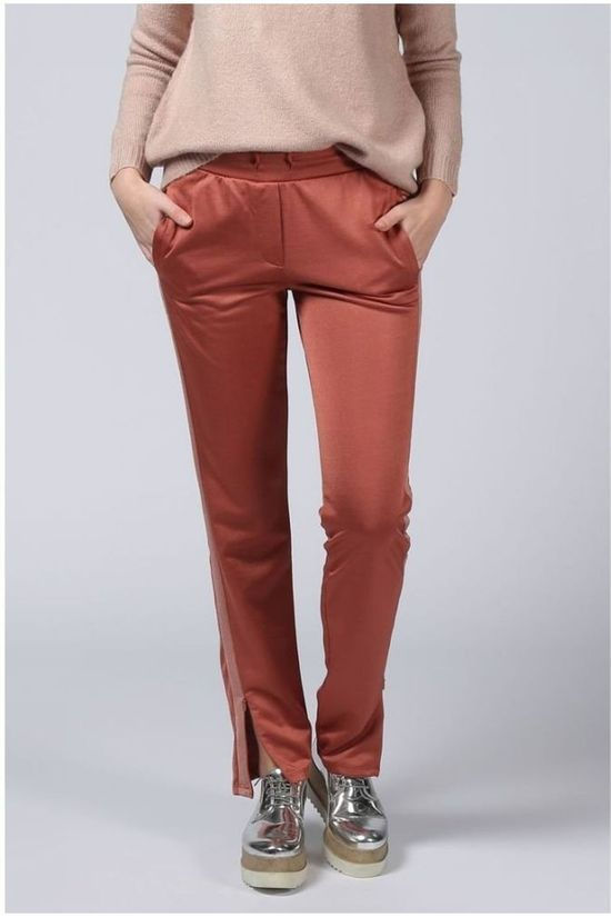 Yaya Broek Sporty With Contrast Stripe Middenroze