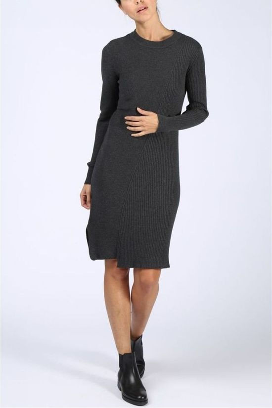 Yaya Dress Stitch Mix Dark Grey Mixture