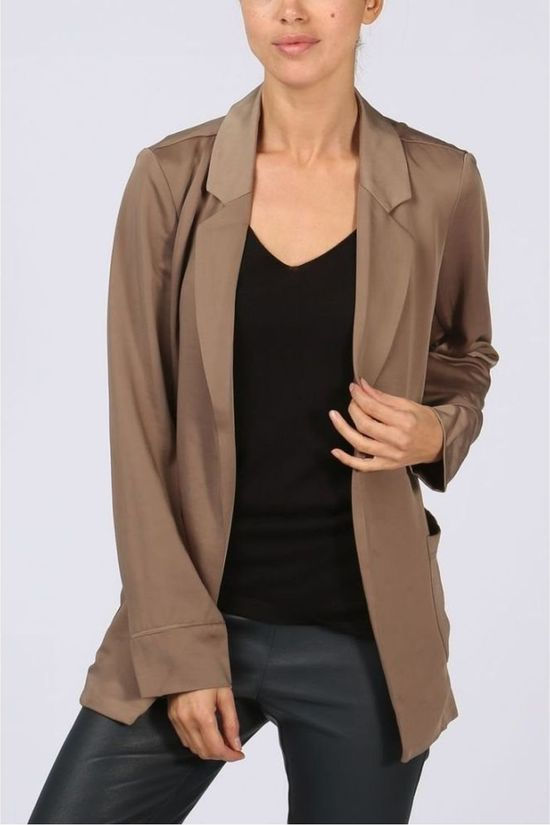 Yaya Blazer Satin Wrap light khaki