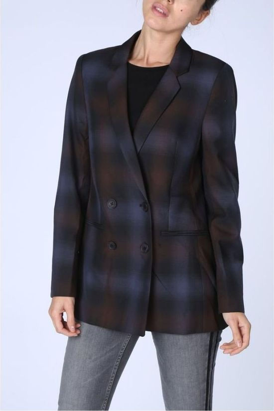 Yaya Blazer Double Breasted Check Donkerblauw/Bordeaux / Kastanjebruin