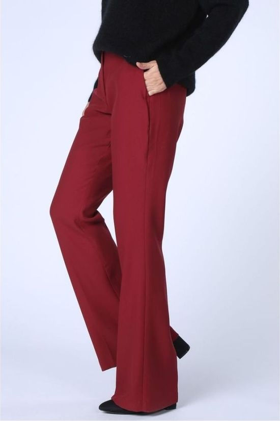 Yaya Trousers Flare Leg mid red