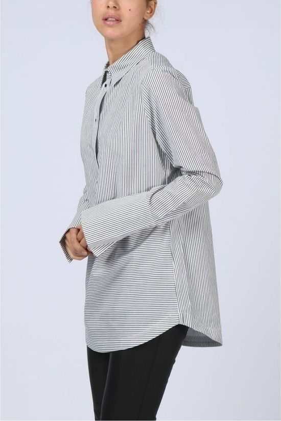 Yaya Shirt Blouse Big Cuff Striped off white/mid grey