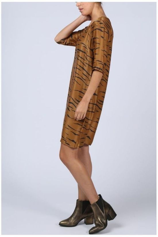Yaya Dress Woven Zebra Print Camel Brown/Black