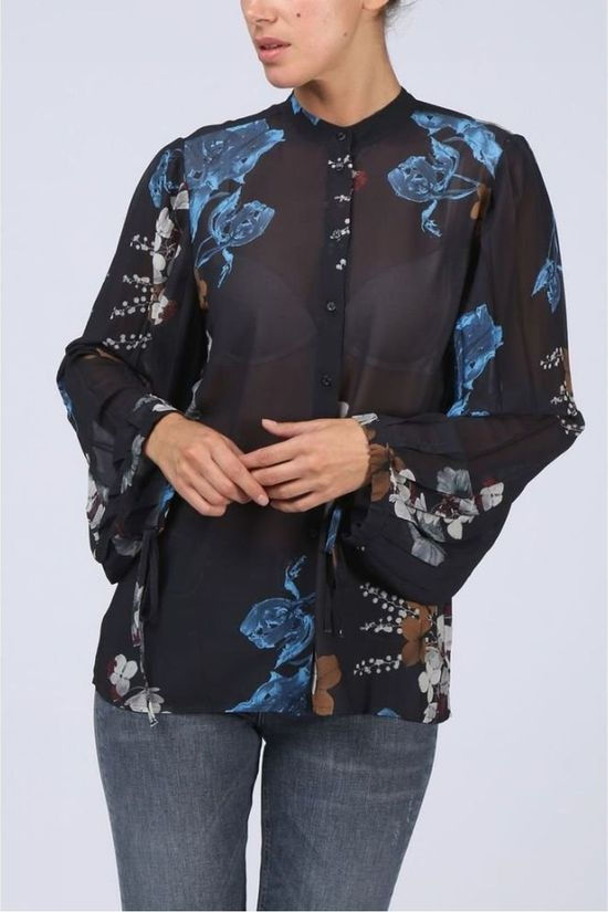 Yaya Blouse  W. Colar And Plisee Slv Big Flower Print Noir/Ass. Fleur