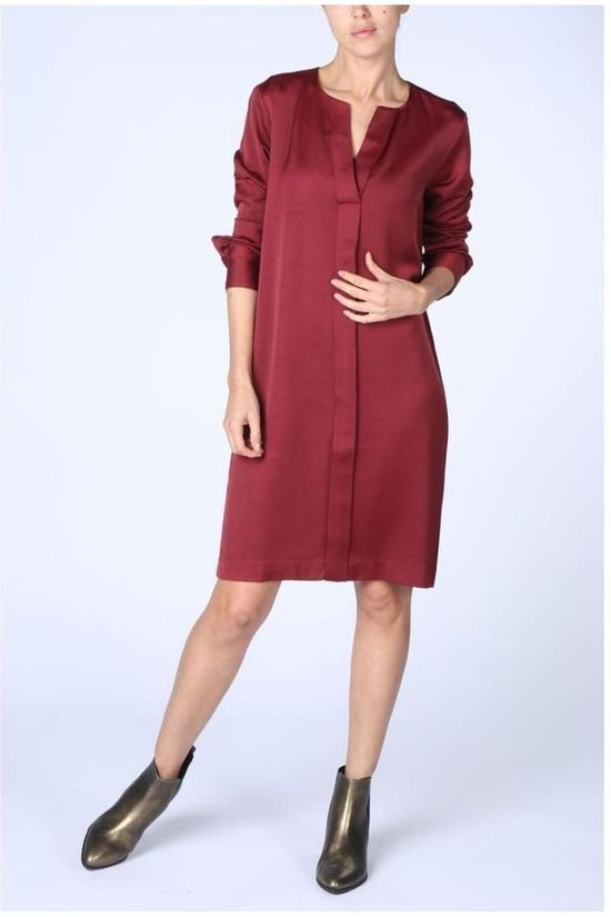 Yaya Jurk Woven V Neck Placket Middenrood