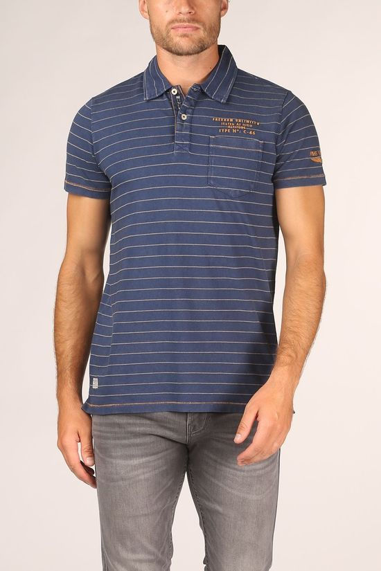 PME Legend Polo Ppss205877 Blue (Jeans)/Camel Brown