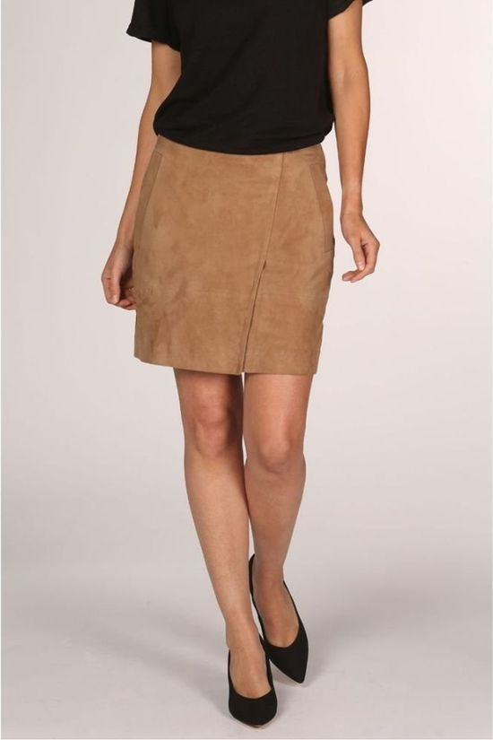 Yaya Skirt Leather Wrap Skirt With Zipper Closure On Back Camel Brown