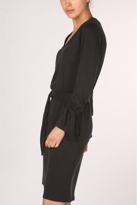 Yaya Jurk Jersey Dress With Strap At Cuff Zwart