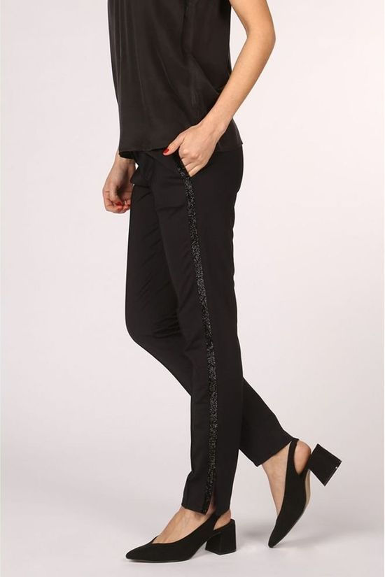 Yaya Broek Sporty Pants With Glitter Insert And Zipper At The Bottom Zwart