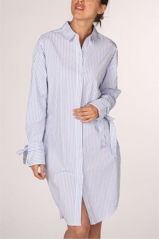 Yaya Jurk Dress Stripe Mix Gebroken Wit/Donkerblauw