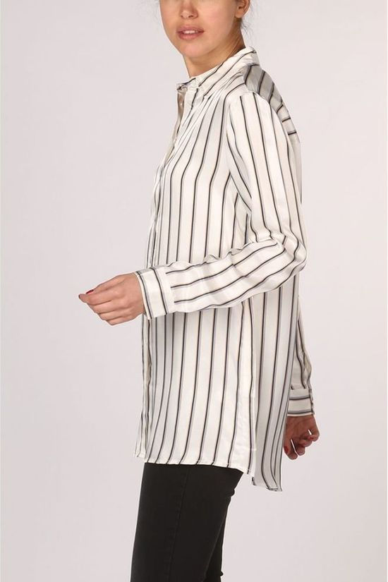 Yaya Shirt Long Striped white/mid blue