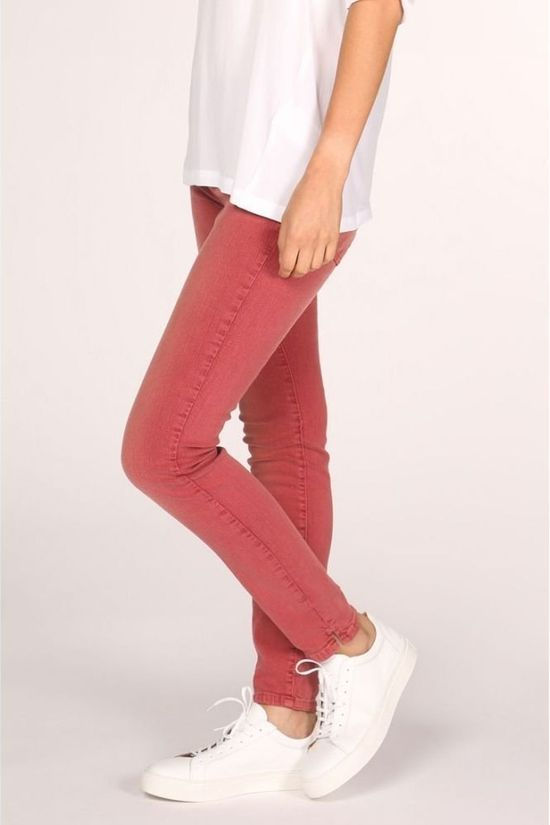 Yaya Broek Coloured Skinny Denim Bordeaux / Kastanjebruin