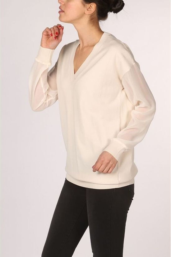 Yaya Pull With Deep Vneck And Woven Sleeves Blanc Cassé