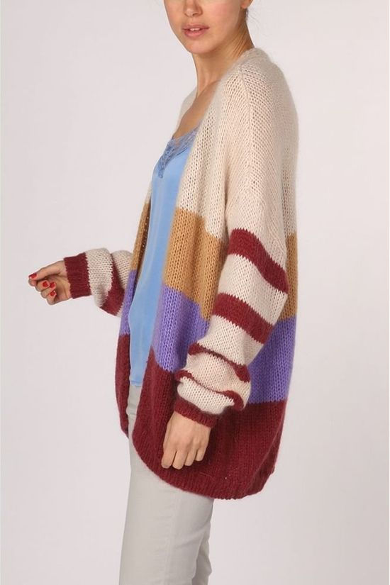 Yaya Cardigan Bulky Colorblock Ecru/Bordeaux