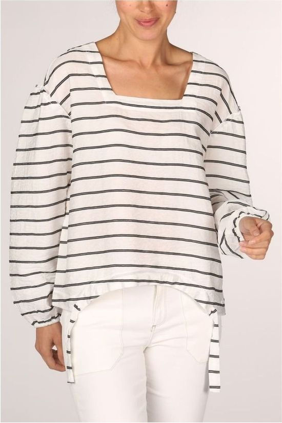 Yaya Blouse Striped With Drawstring Wit/Zwart