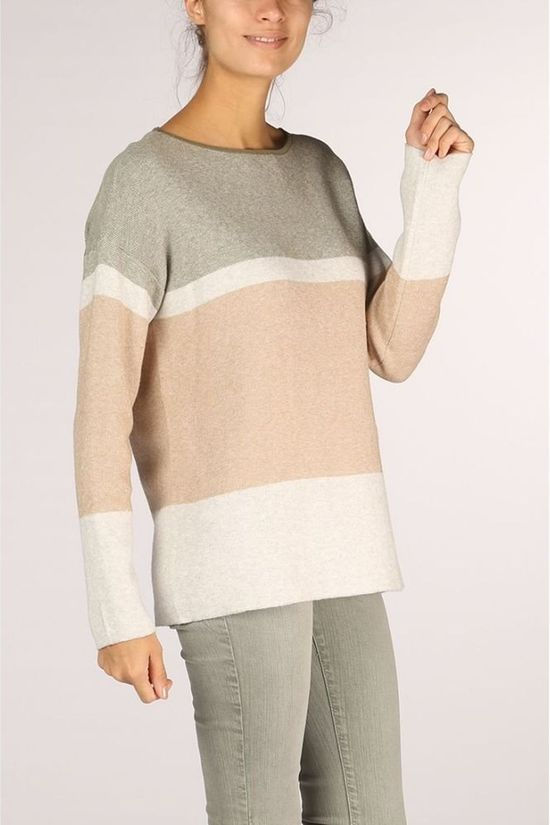 Yaya Trui Boatneck With Stripe Middenkaki/Ecru