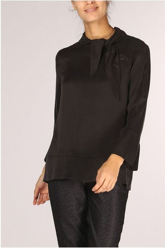 Yaya Shirt Woven Tie Neck black
