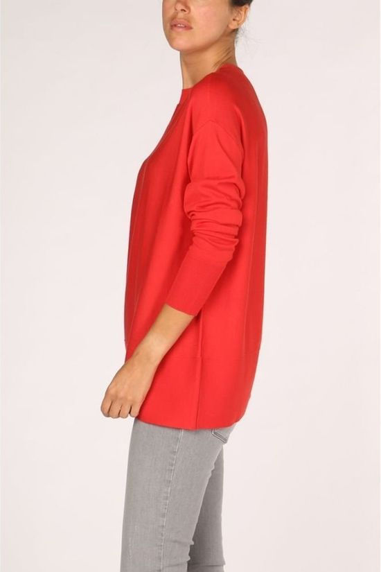 Yaya Trui Mock Neck With Contrast Middenrood