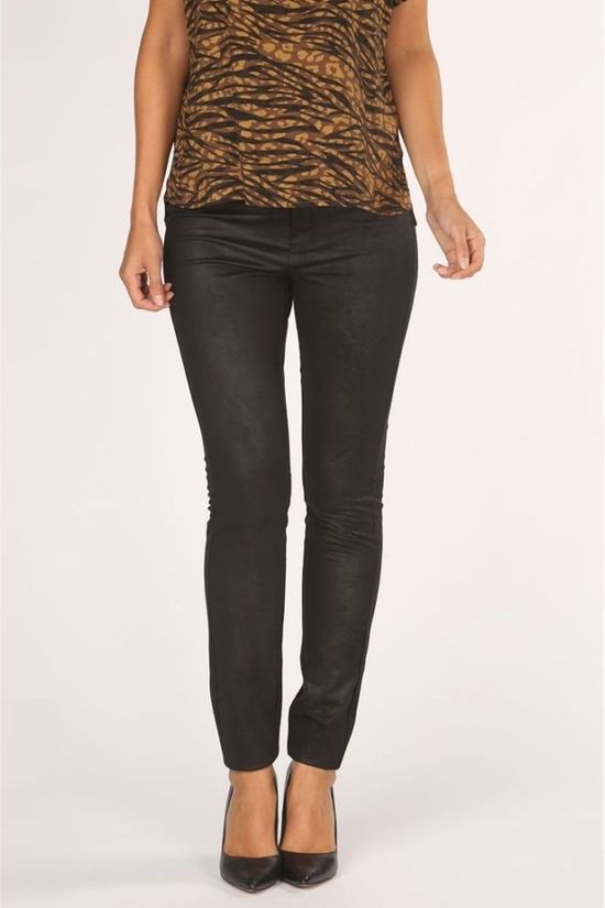 Yaya Legging Faux Leather With Zipper And Button Closure Zwart